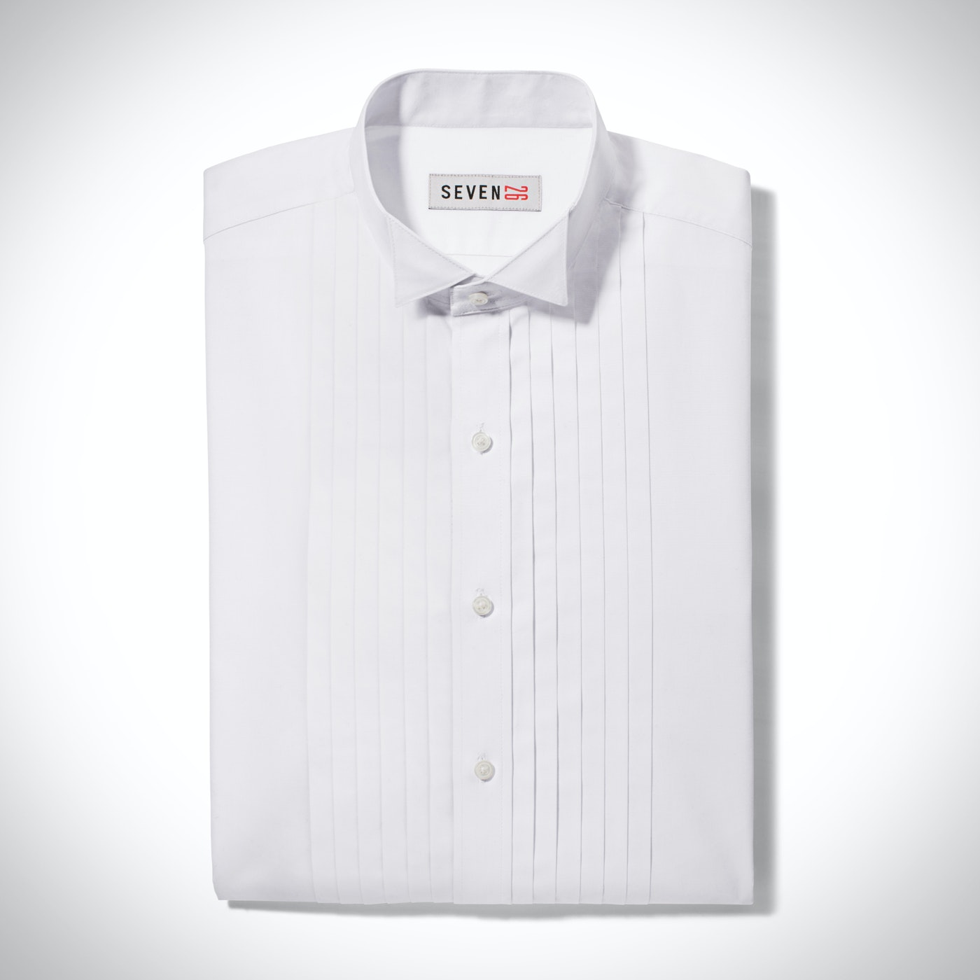 Pleated White Wingtip Collar Shirt