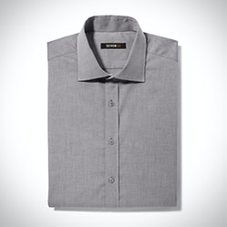 Gray Spread Collar Shirt