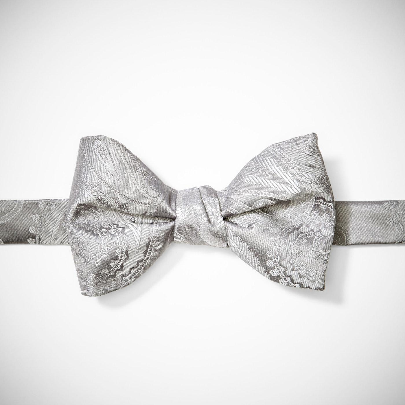 Platinum Paisley Pre-Tied Bow Tie