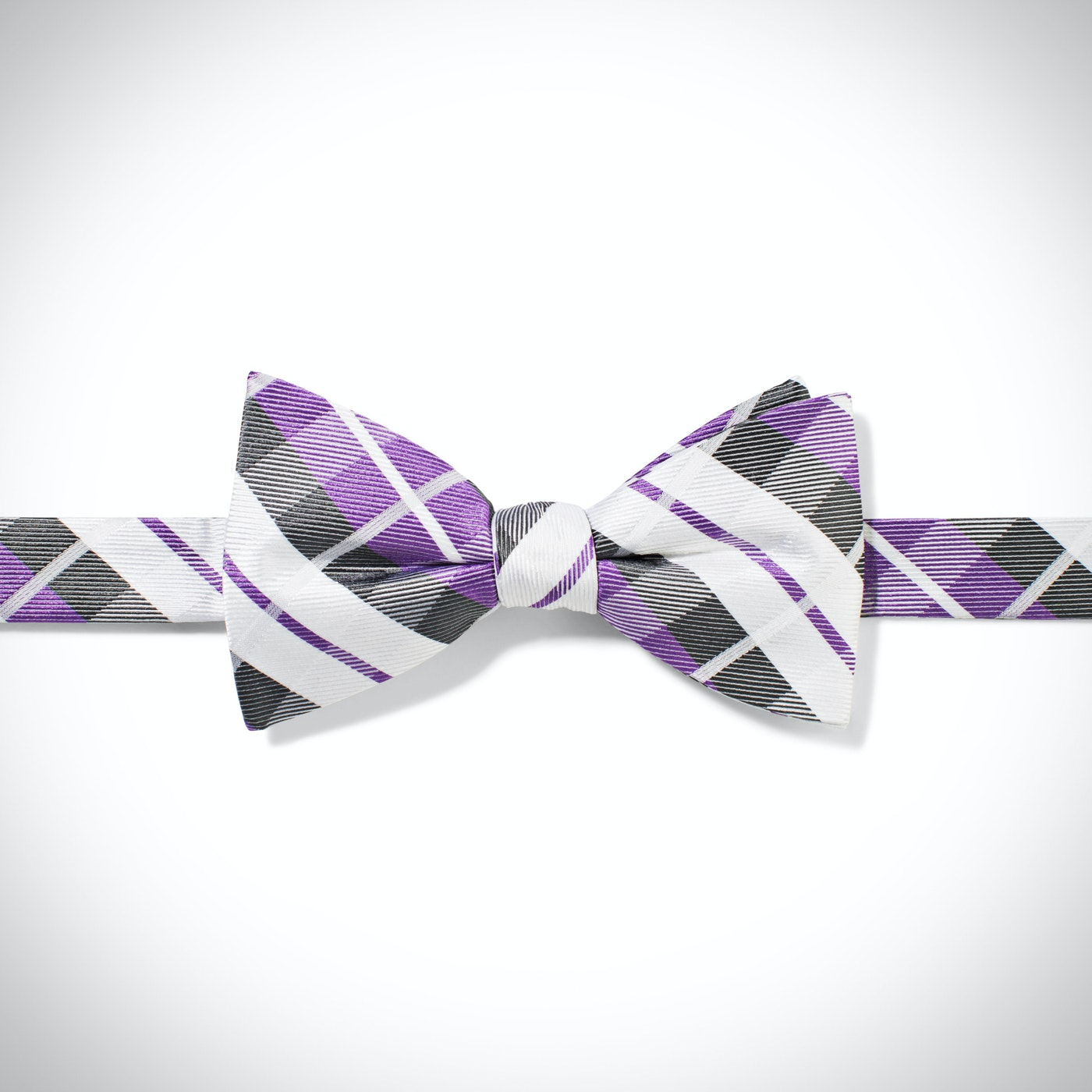 Lilac Oversized Plaid Pre-Tied Bow Tie