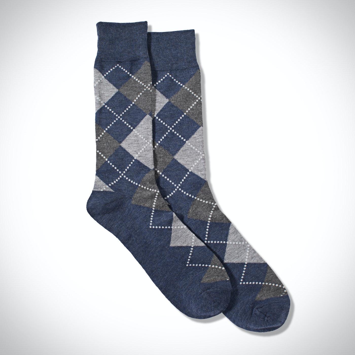 Full Print Gray Argyle Socks
