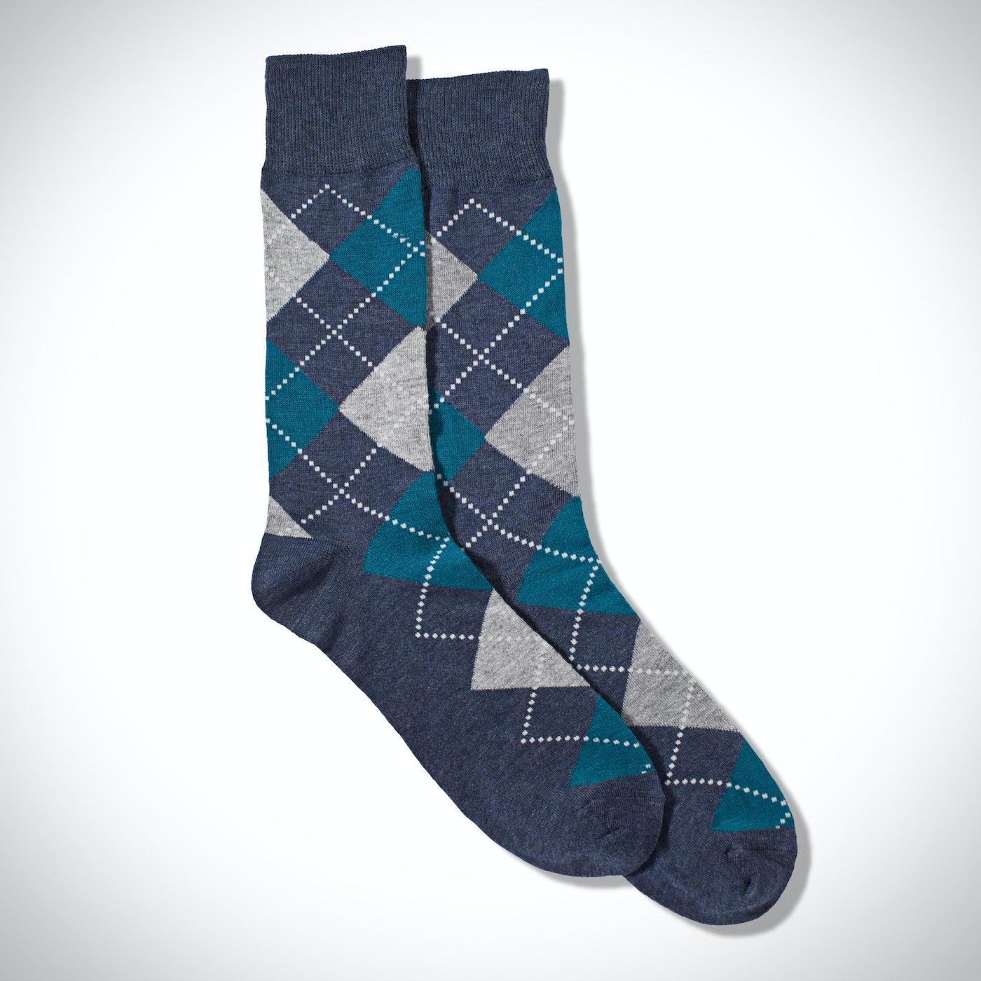 Blue Argyle Socks: Full Print