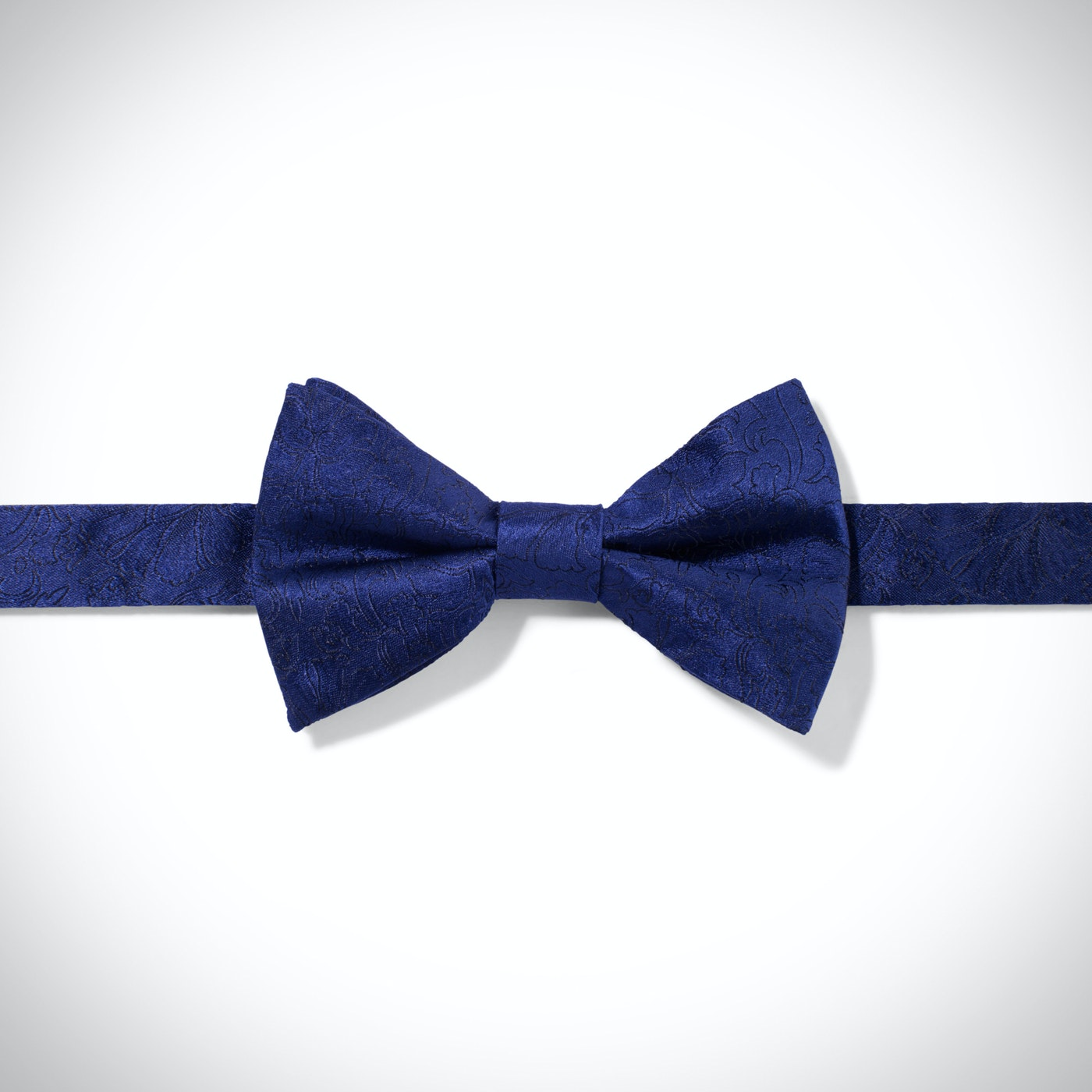 Blue Etched Floral Bow Tie