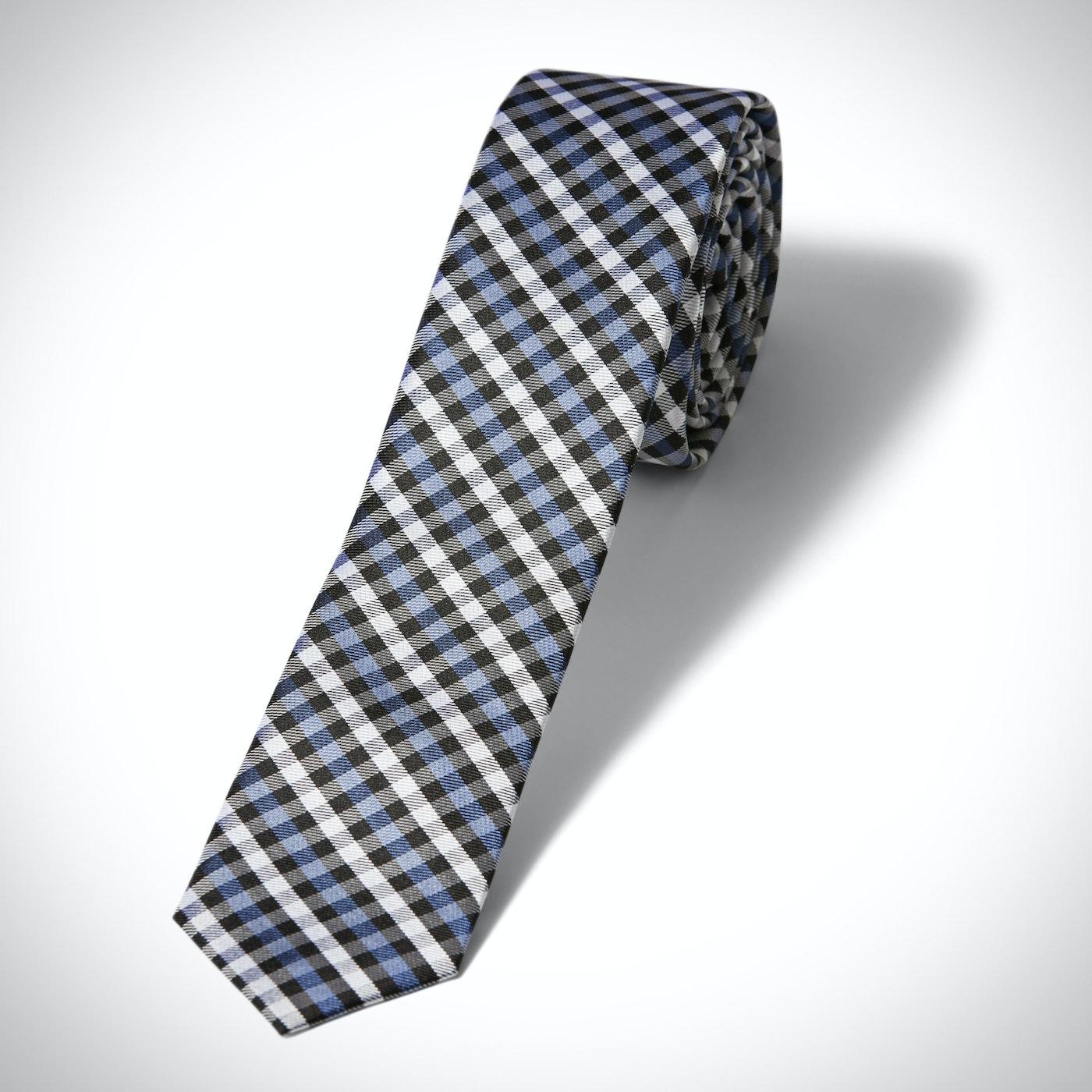 Blue Gingham Skinny Tie