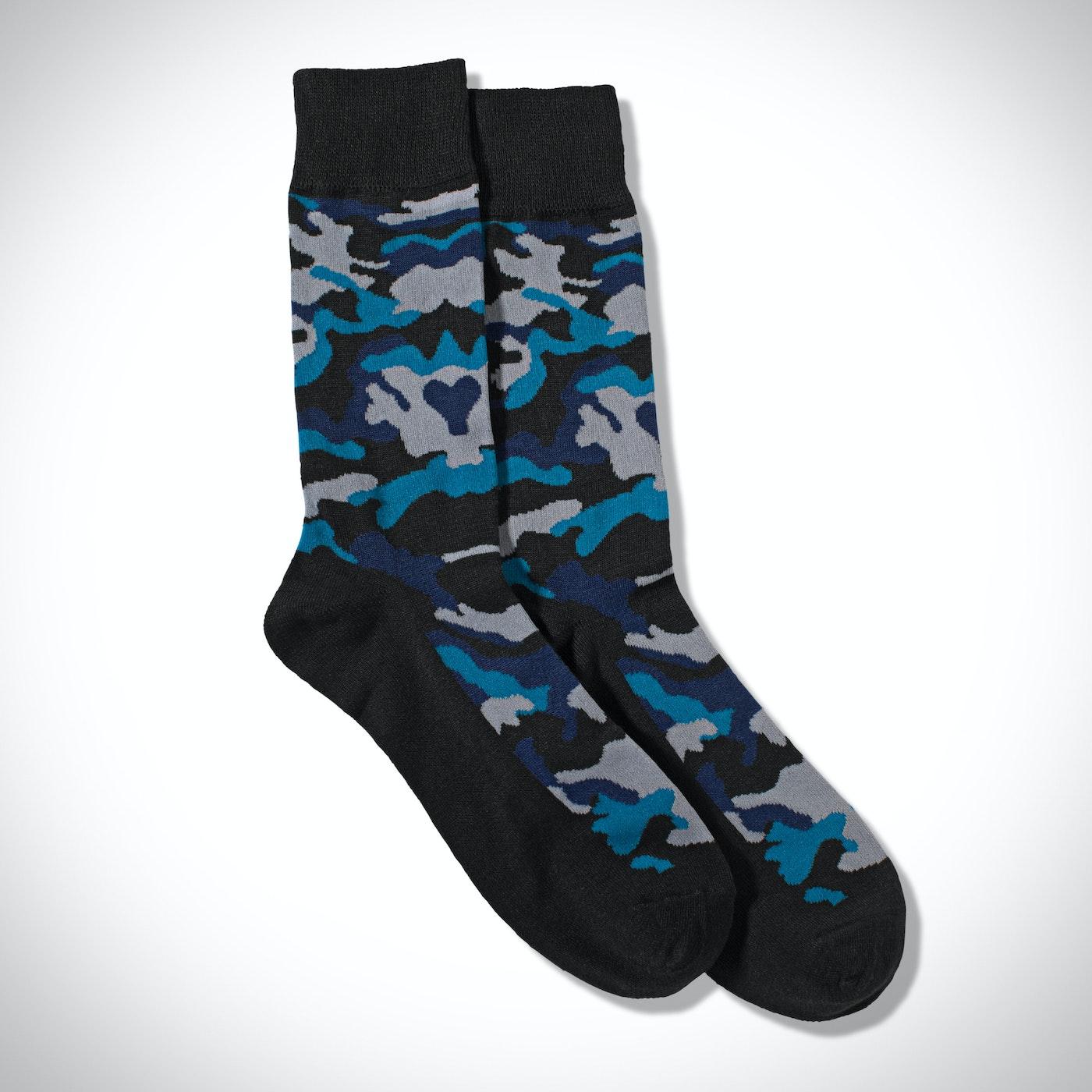 Blue Camo Print Socks