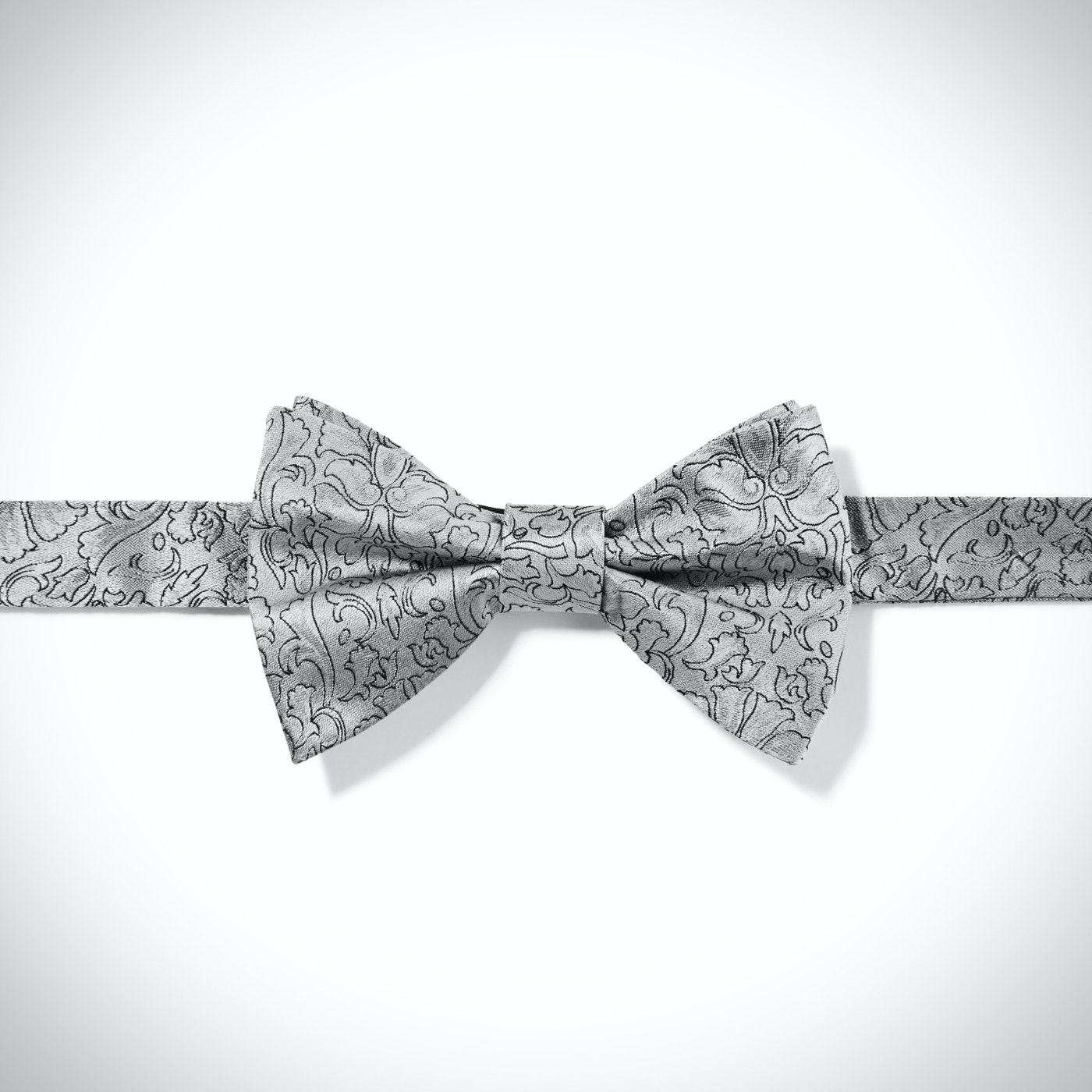 Silver Etched Floral Bow Tie