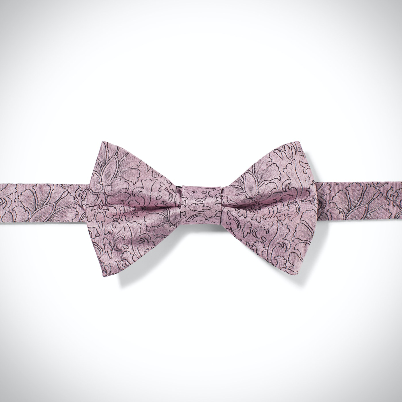 Pink Etched Floral Bow Tie