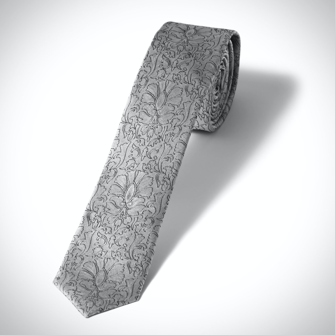 Skinny Silver Etched Floral Tie