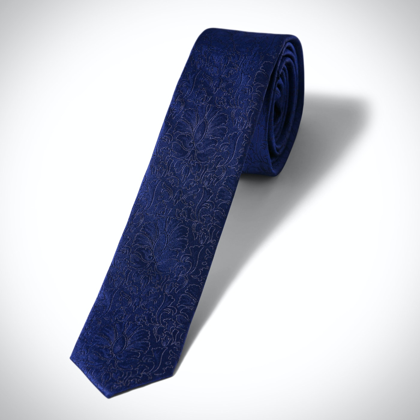 Blue Etched Floral Skinny Tie