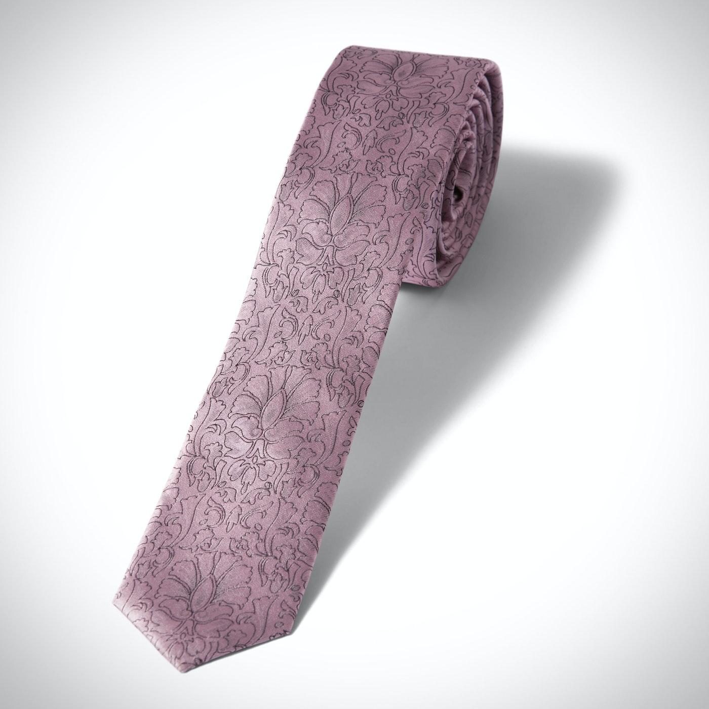 Skinny Pink Etched Floral Tie