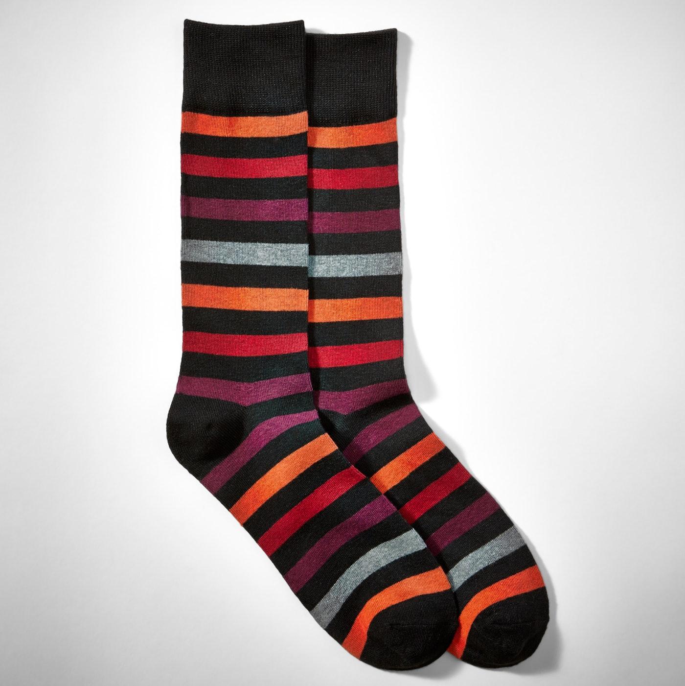Orange Multi Color Wide Stripe Socks