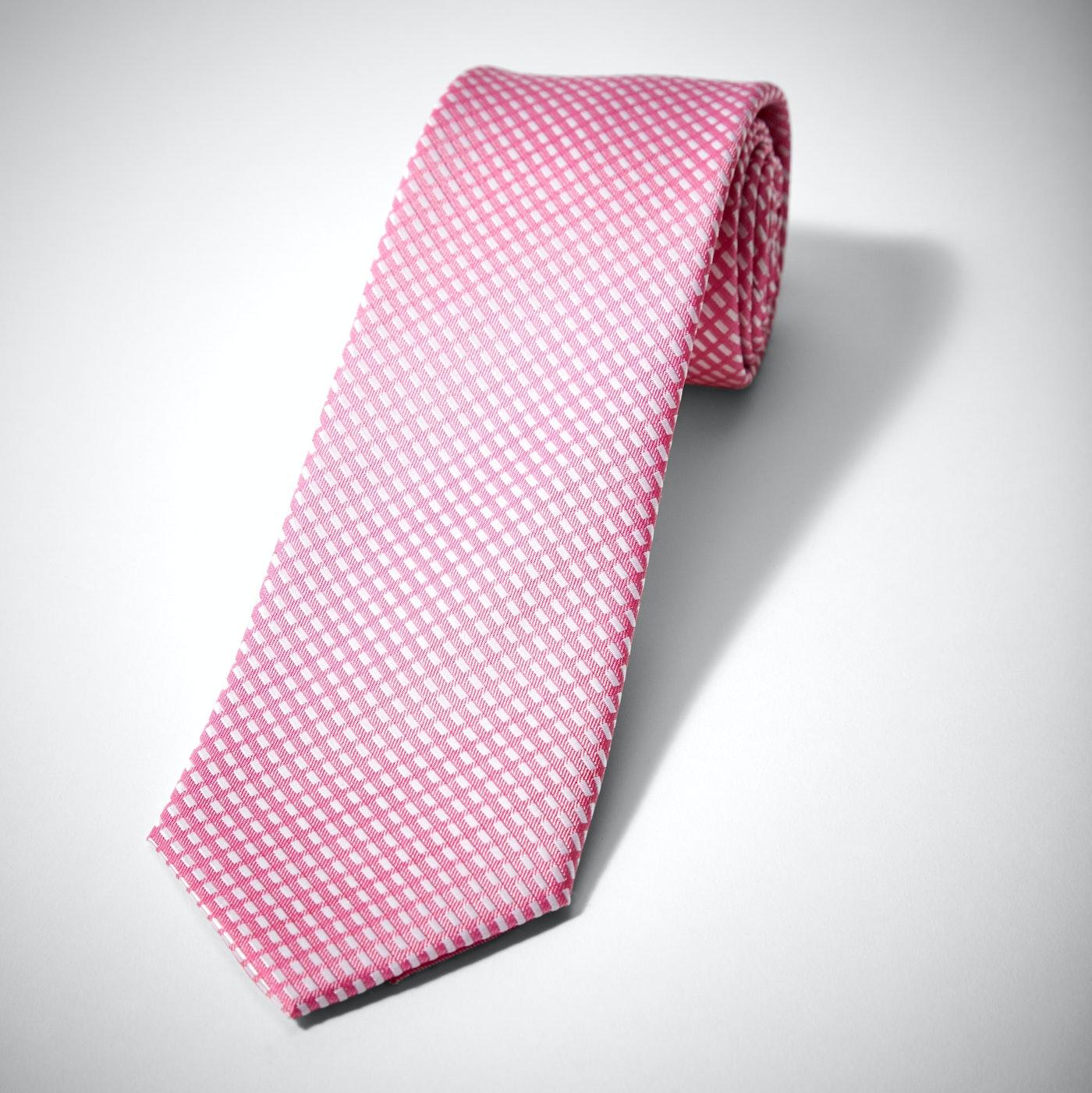 Pink Diagonal Dobby Tie