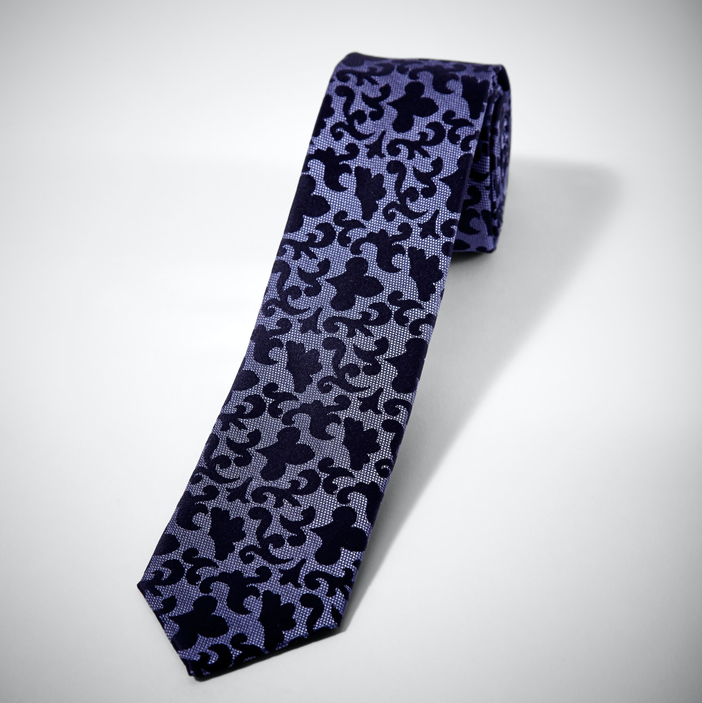 Purple Vintage Brocade Skinny Tie