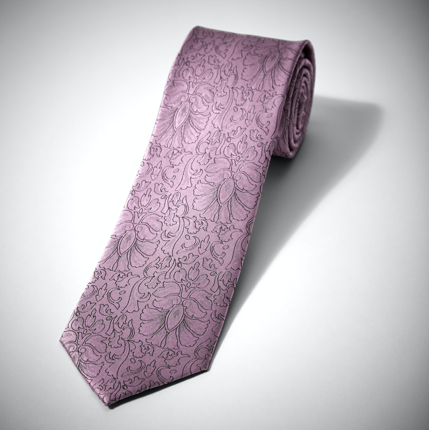 Pink Etched Floral Tie