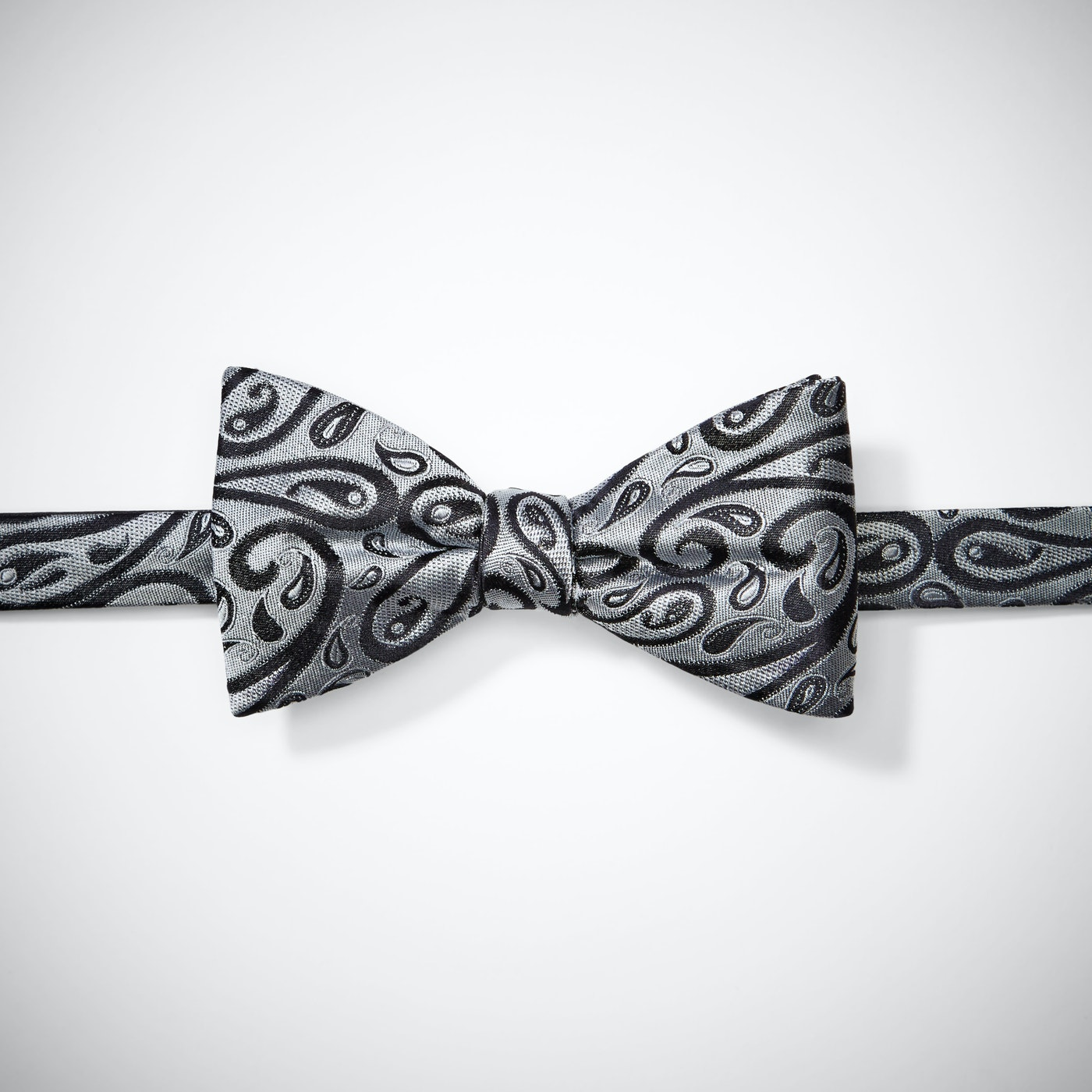 Silver with Black Paisley Bow Tie