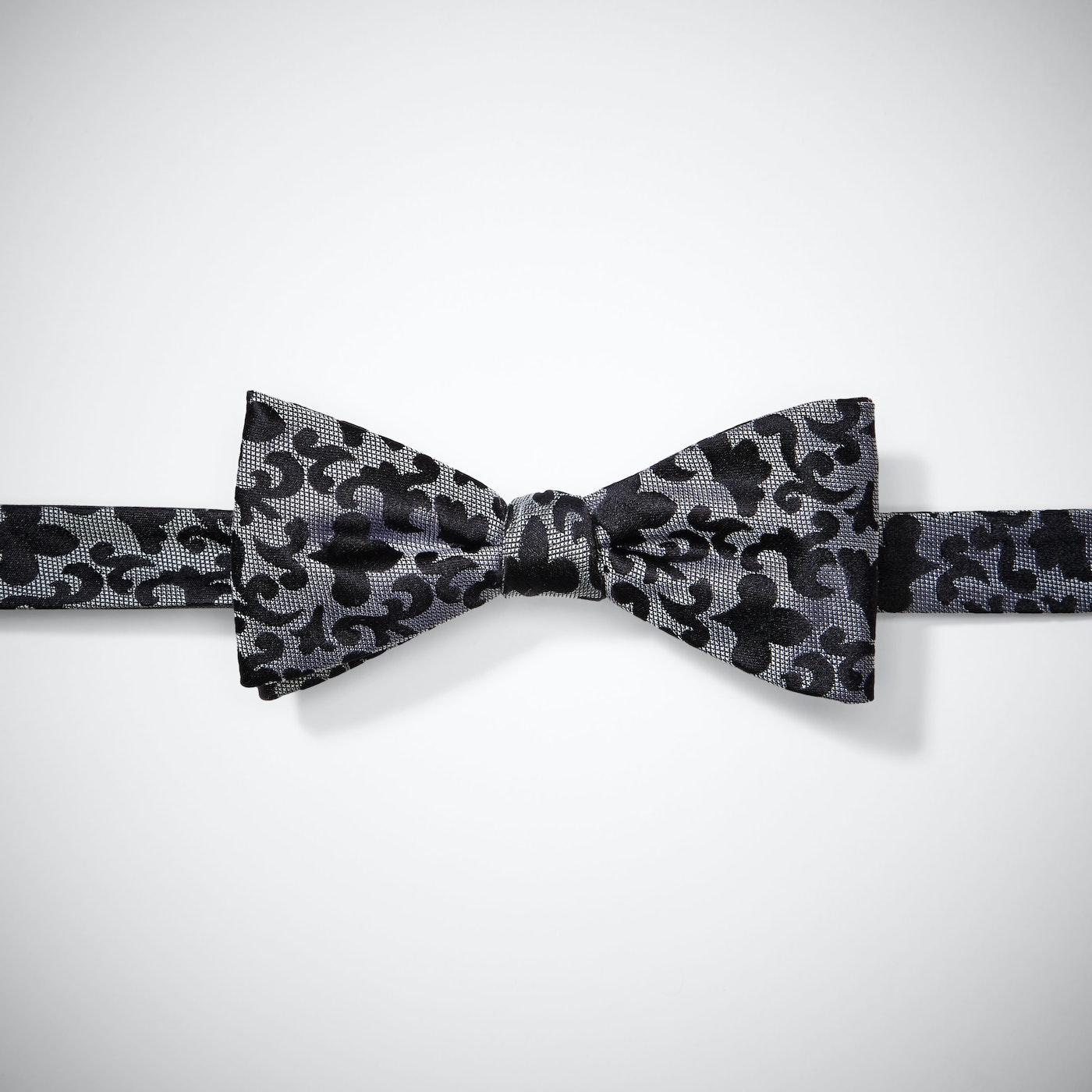 Gray Vintage Brocade Pre-Tied Bow Tie