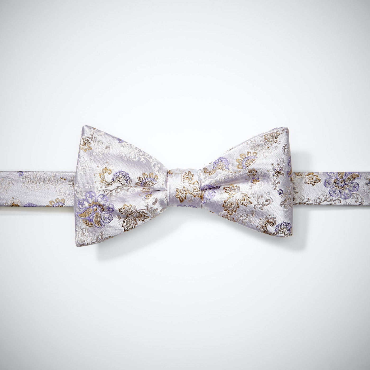 Silver Peony Antique Flowers Bow Tie