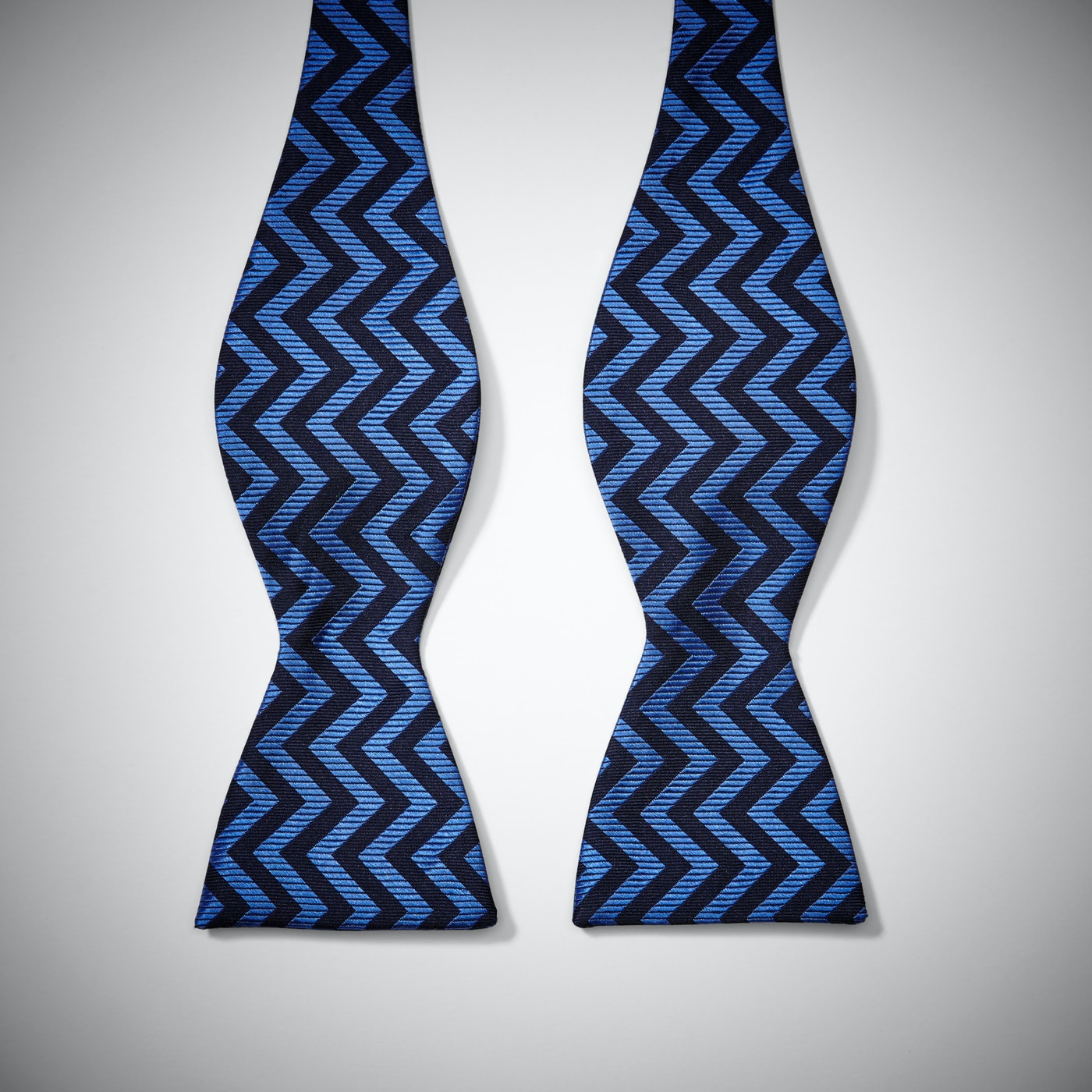 Blue Chevron Bow Tie