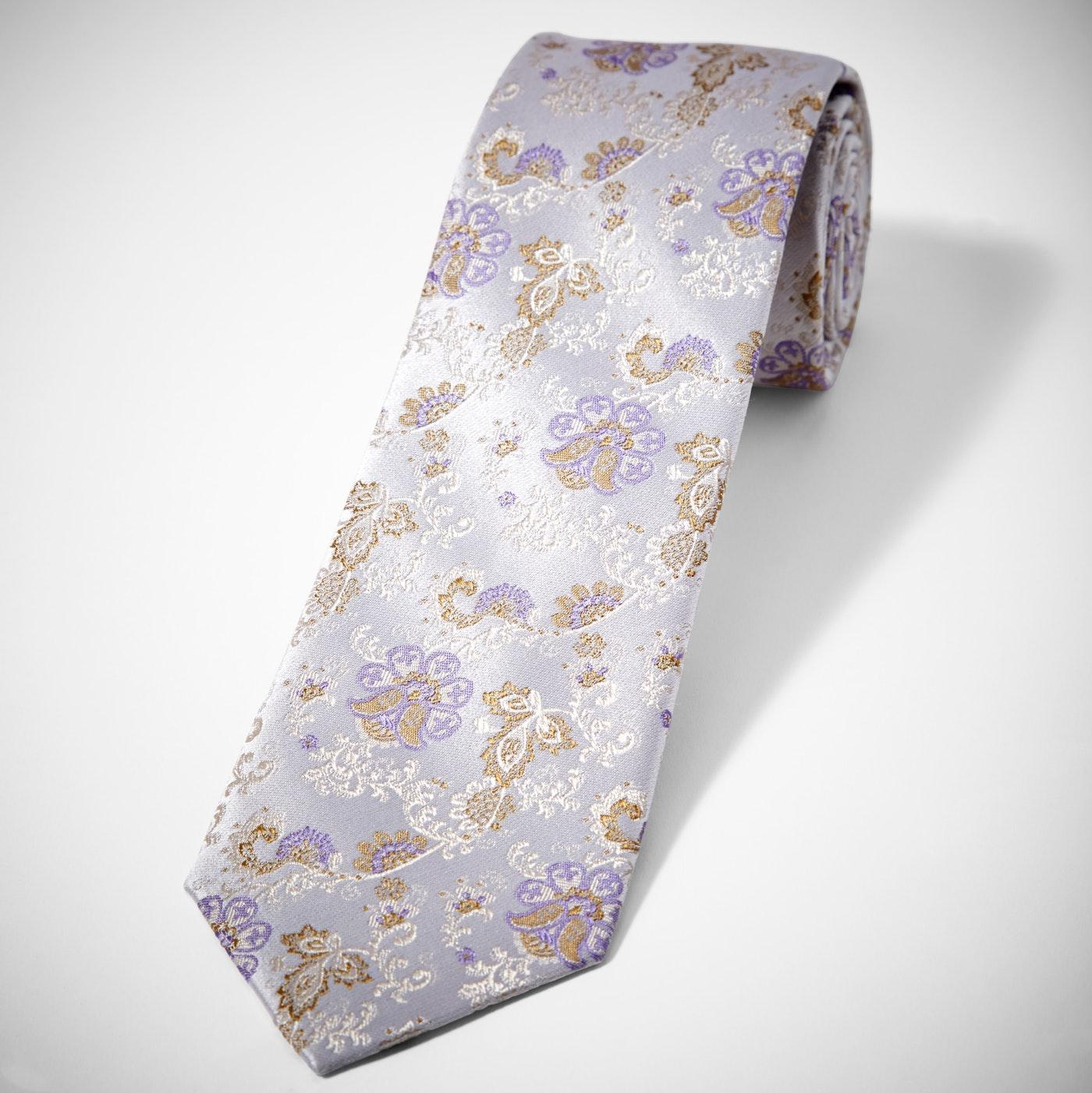 Silver Peony Antique Flowers Tie