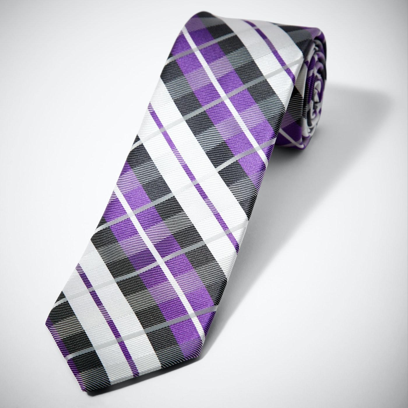 Purple Oversized Plaid Tie
