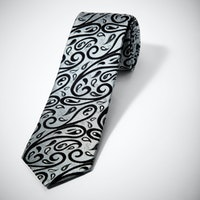 Silver with Black Paisley Tie