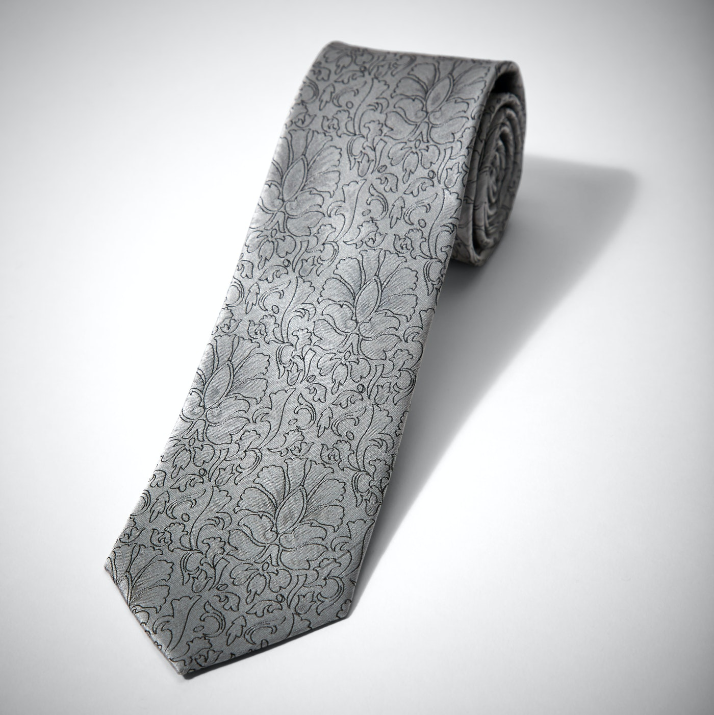 Silver Etched Floral Tie