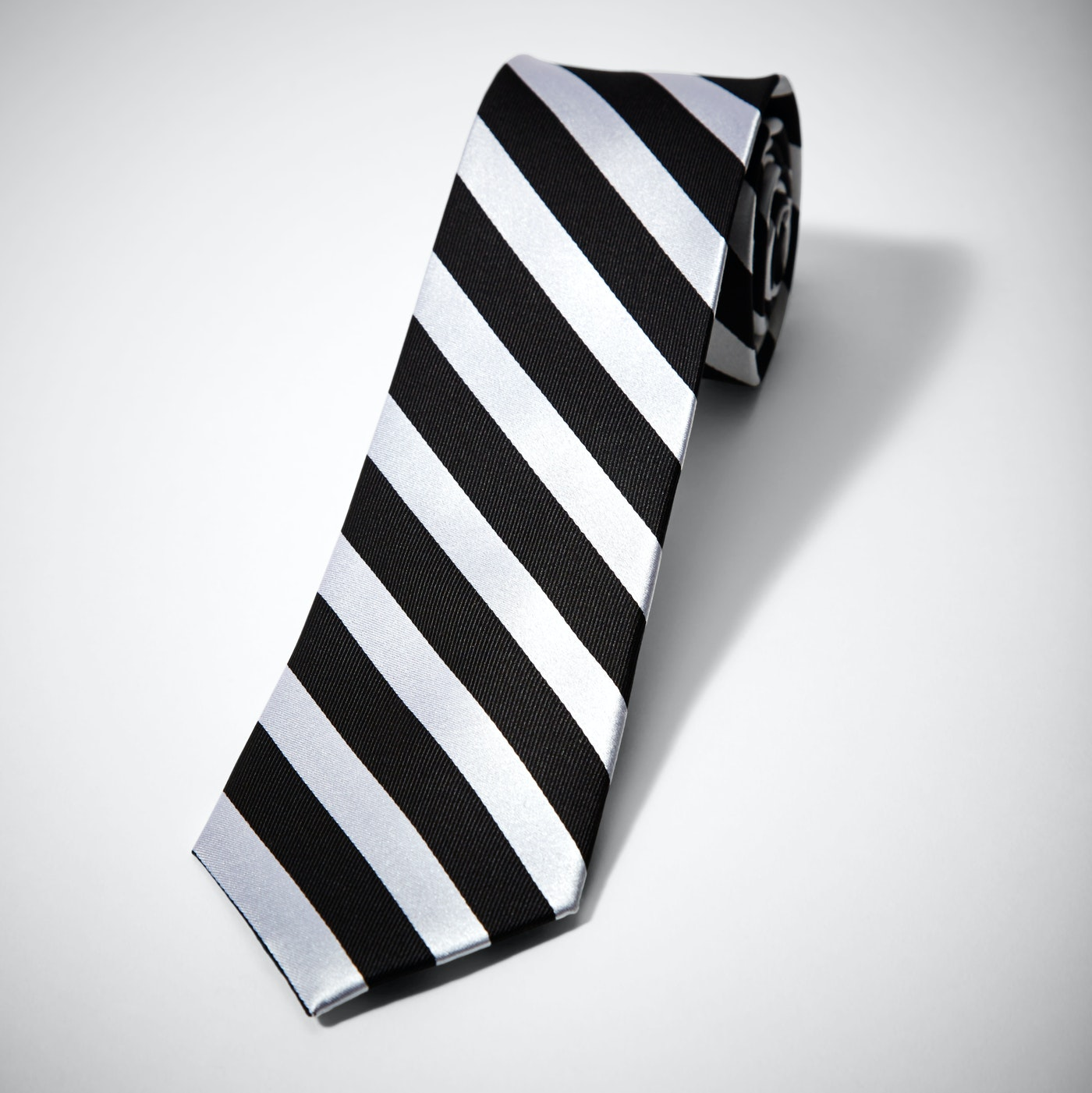 Black and White Wide Stripe Tie