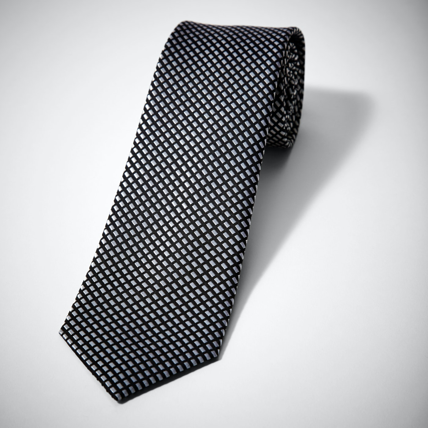 Black Diagonal Dobby Tie
