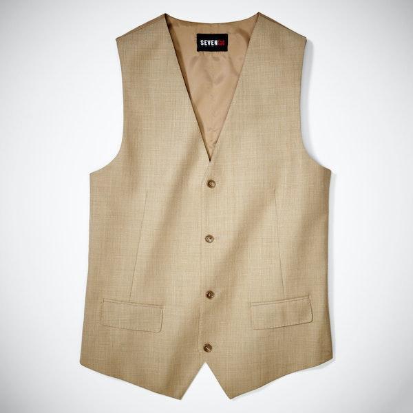 Tan Sharkskin Tailored Suit Vest