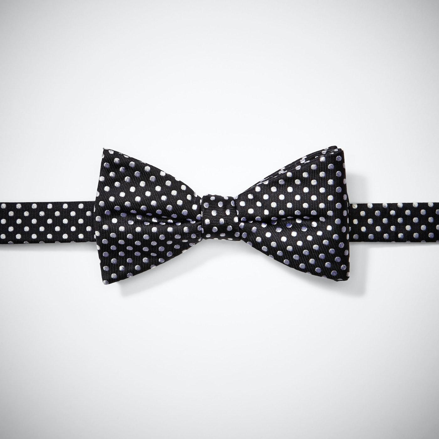 Black Polka Dot Pre-Tied Bow Tie