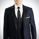Midnight Blue Peak Lapel Tux: Look 2