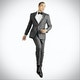 Slim Charcoal Gray Notch Lapel Tux: Look 1