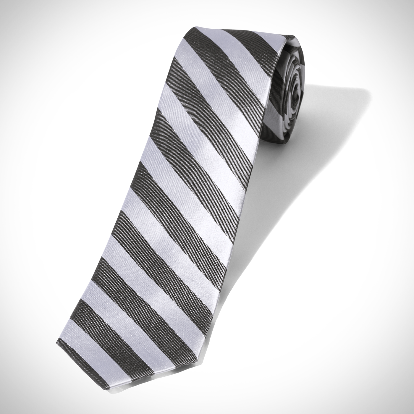White and Charcoal Wide Stripe Tie