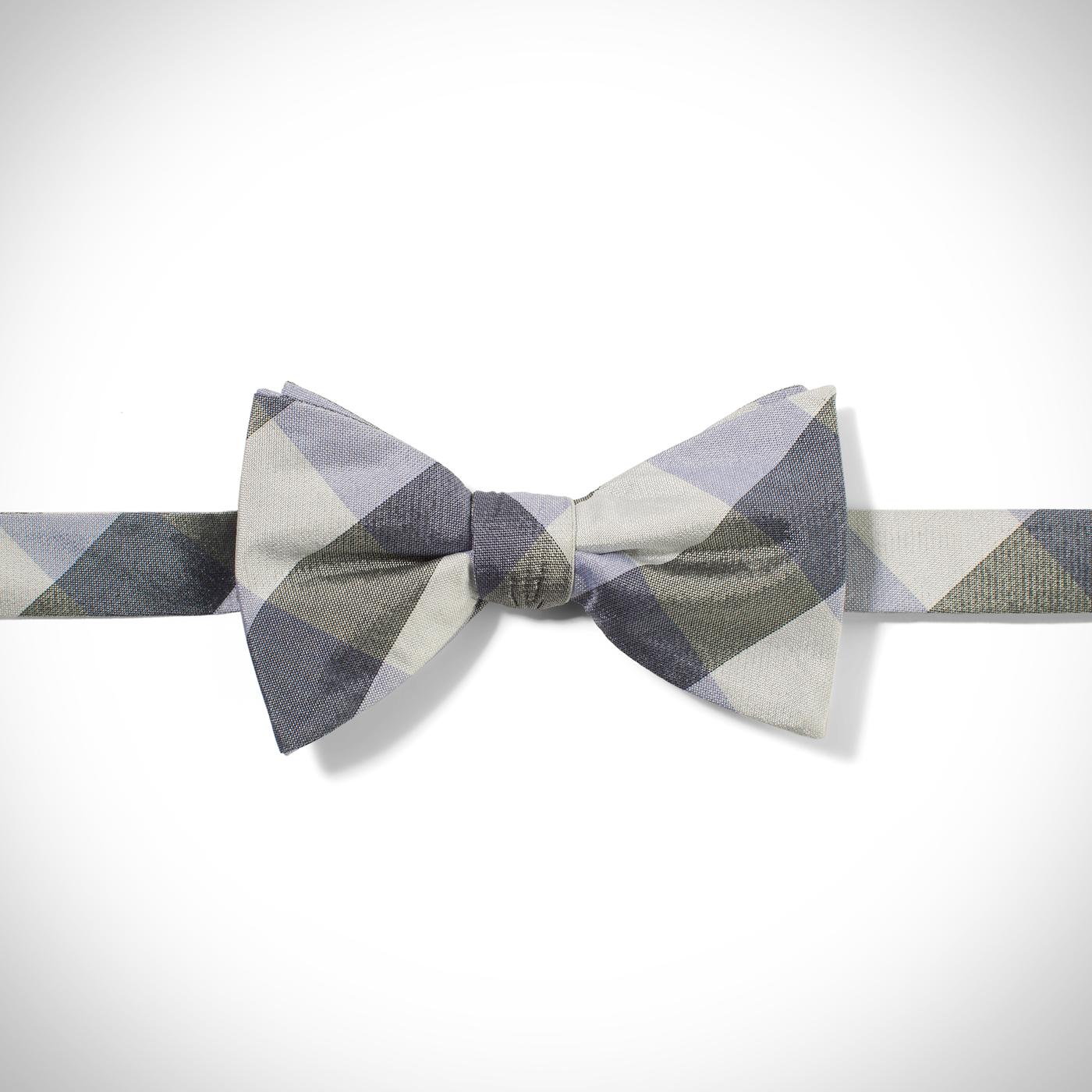 Lilac Buffalo Plaid Pre-Tied Bow Tie
