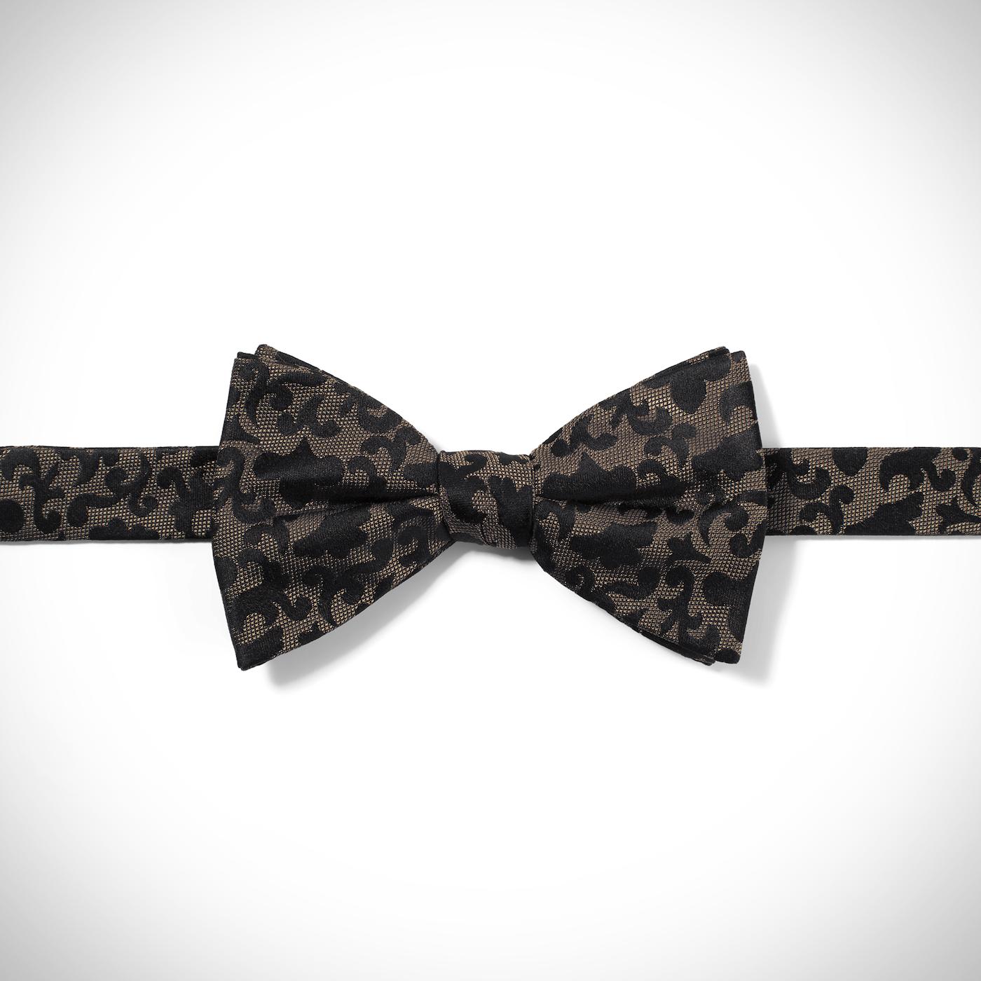 Taupe Vintage Brocade Pre-Tied Bow Tie
