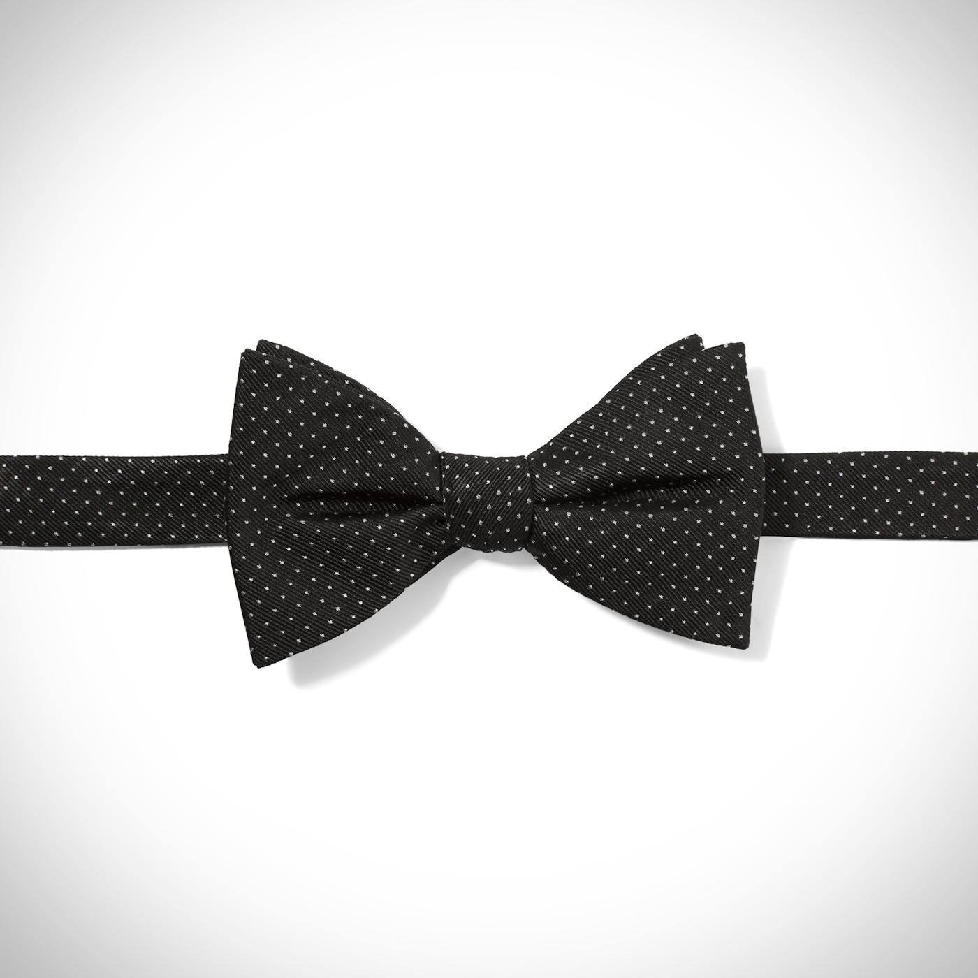 Black and White Polka Dot Pre-Tied Bow Tie