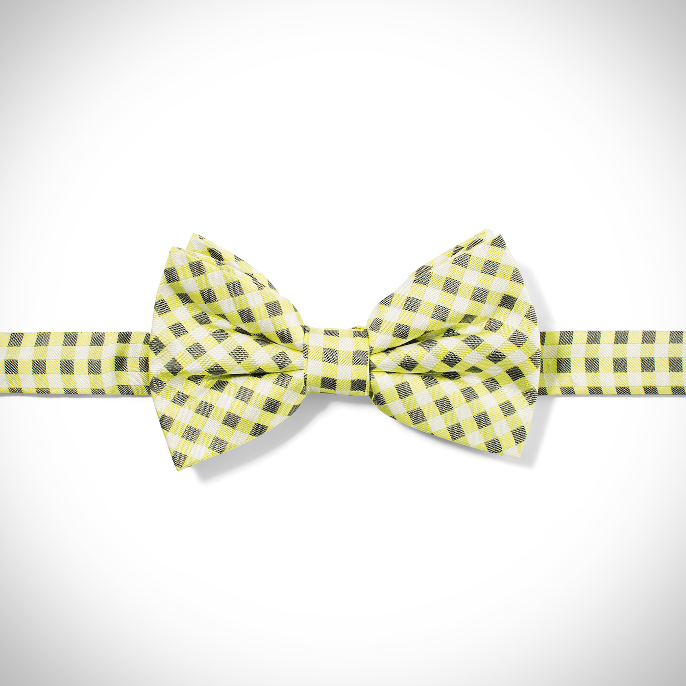 Yellow Gingham Pre-Tied Bow Tie