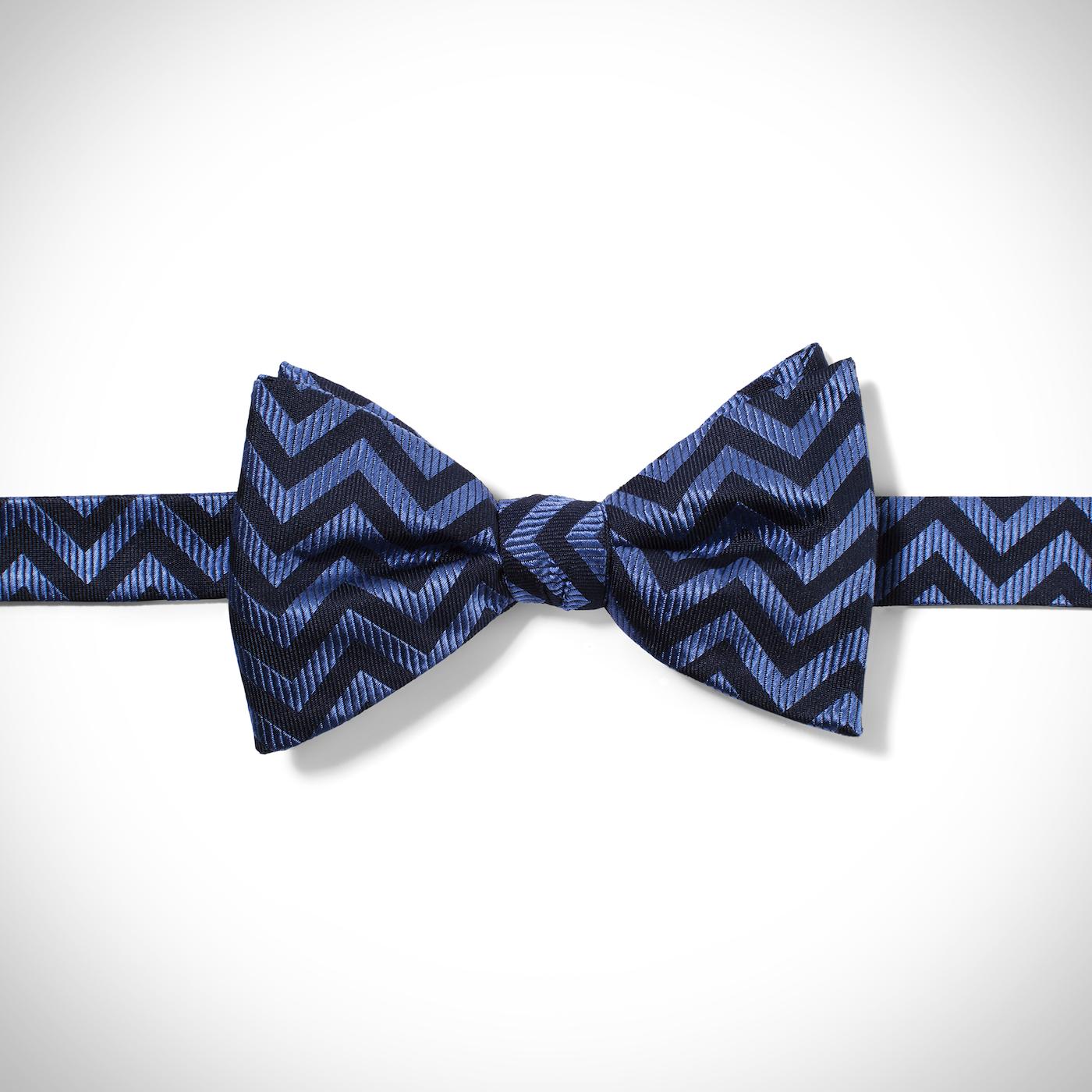 Blue Chevron Pre-Tied Bow Tie