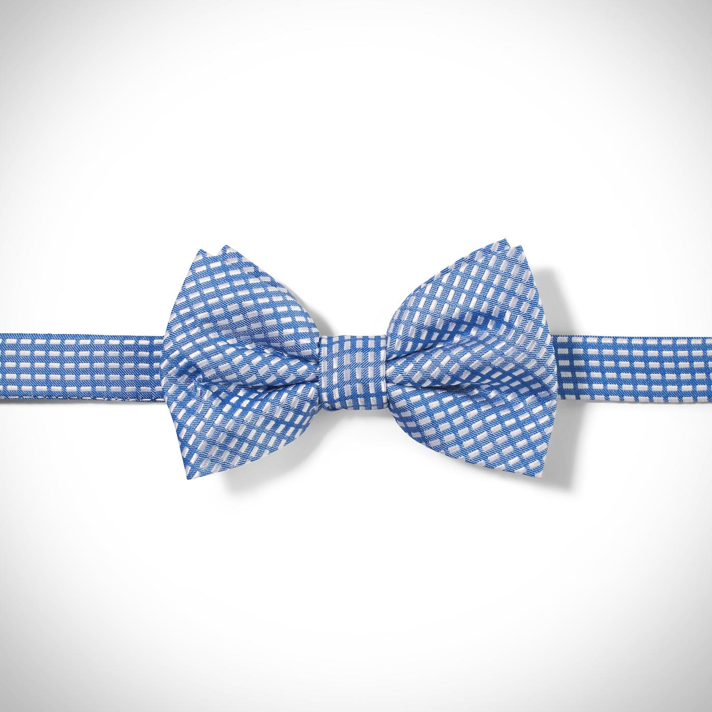 Medium Blue Dobby Pre-Tied Bow Tie