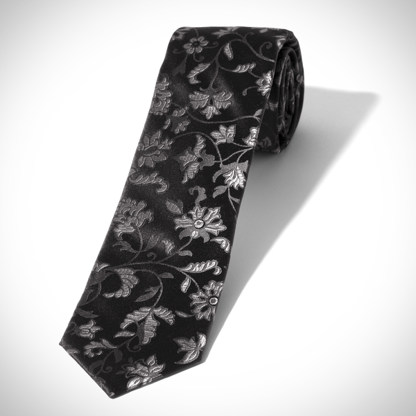 0ef923ea6519 Black and Silver All Over Floral Tie   Generation Tux