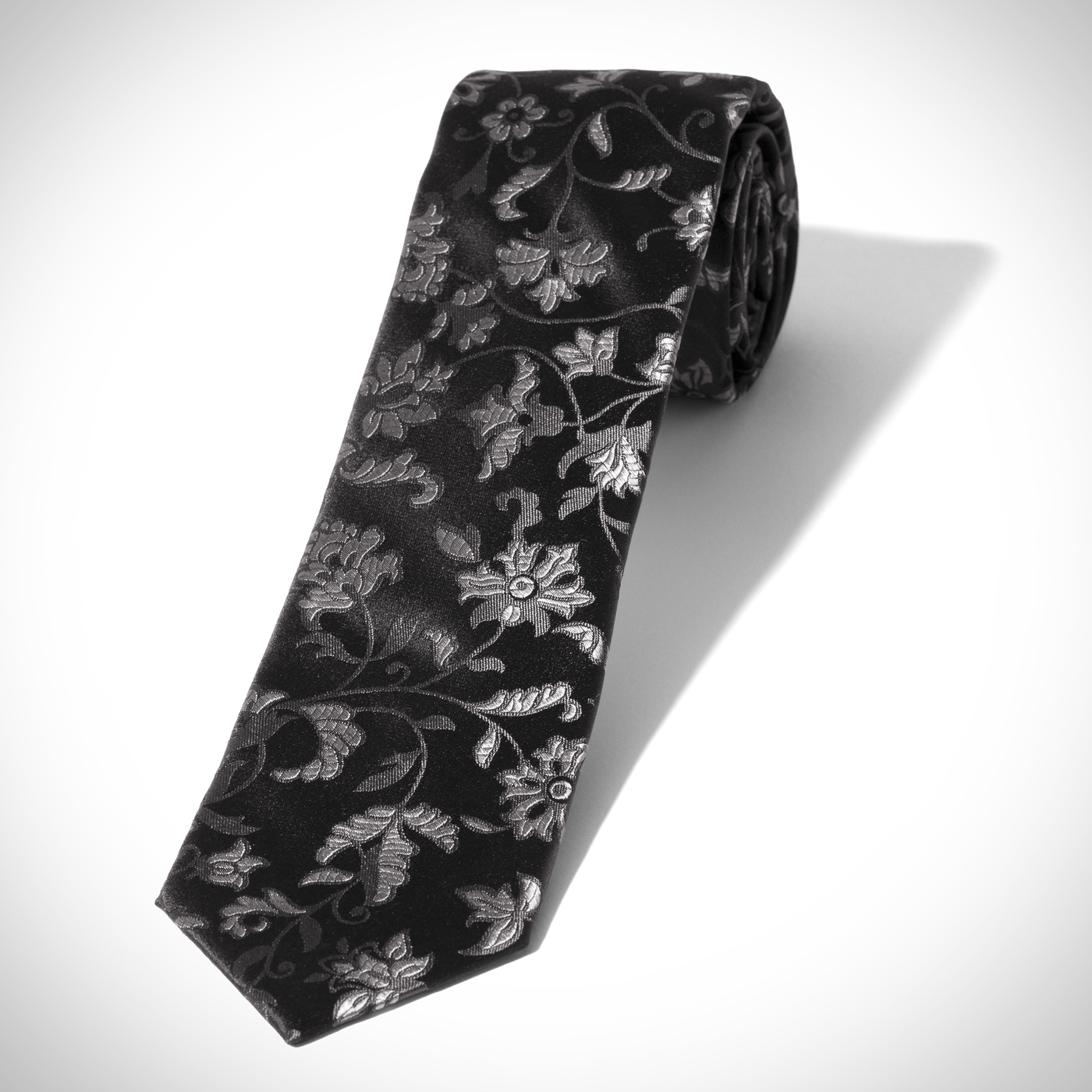 Black and Silver All Over Floral Tie