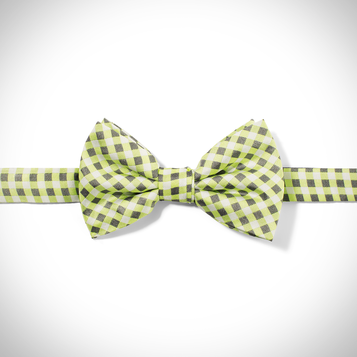 Green Gingham Pre-Tied Bow Tie