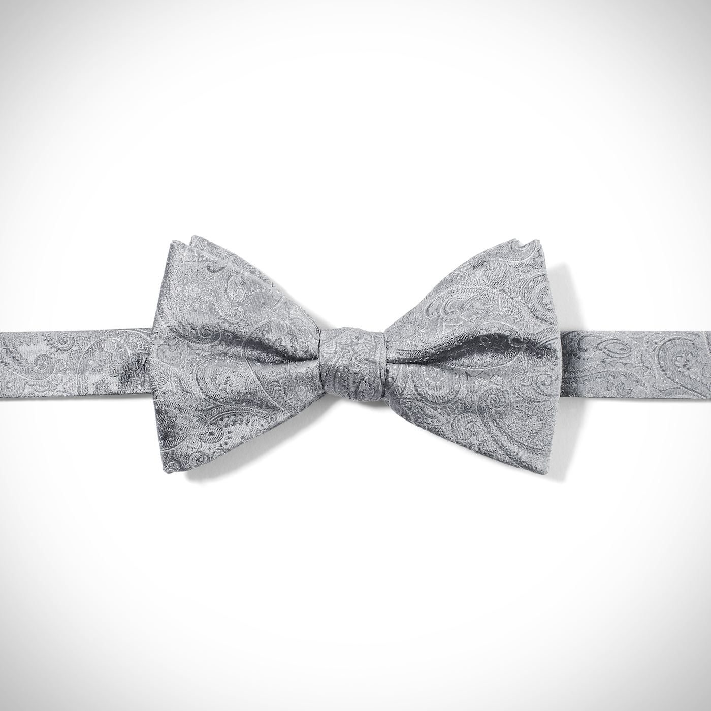 Silver Classic Paisley Pre-Tied Bow Tie