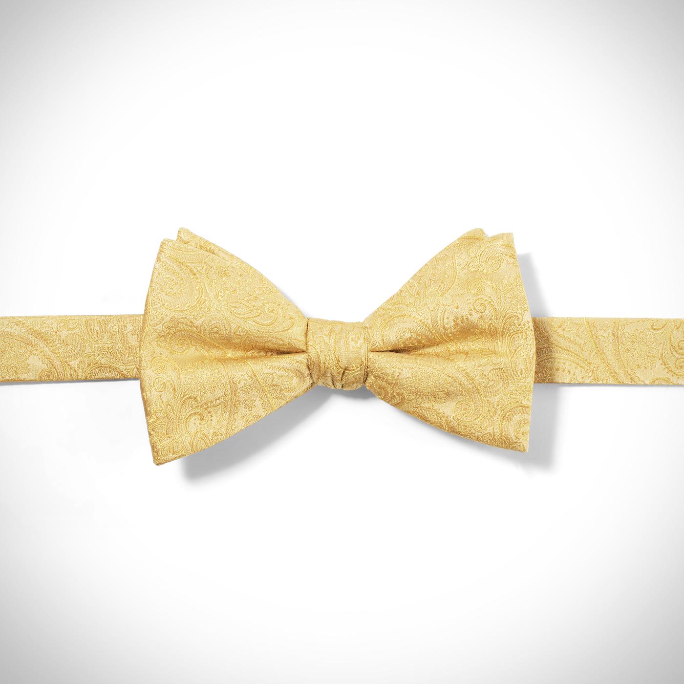 Yellow Paisley Pre-Tied Bow Tie