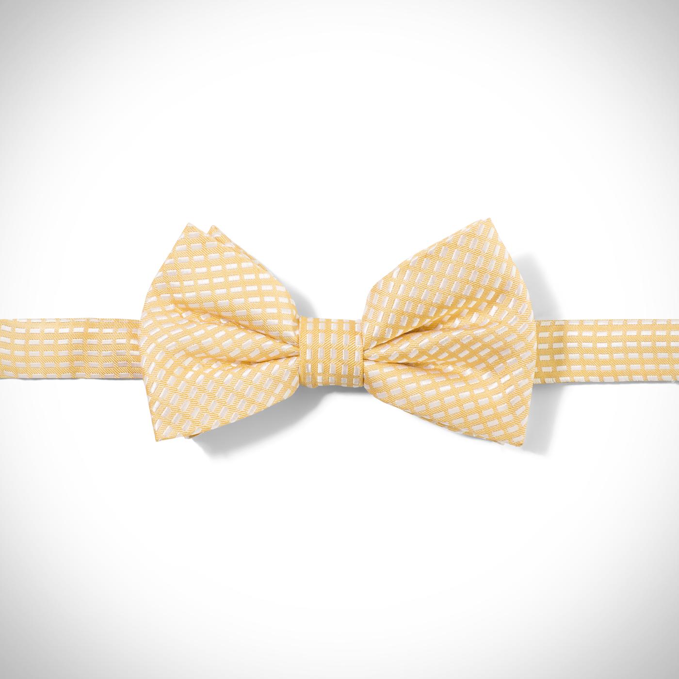 Yellow Diagonal Dobby Pre-Tied Bow Tie