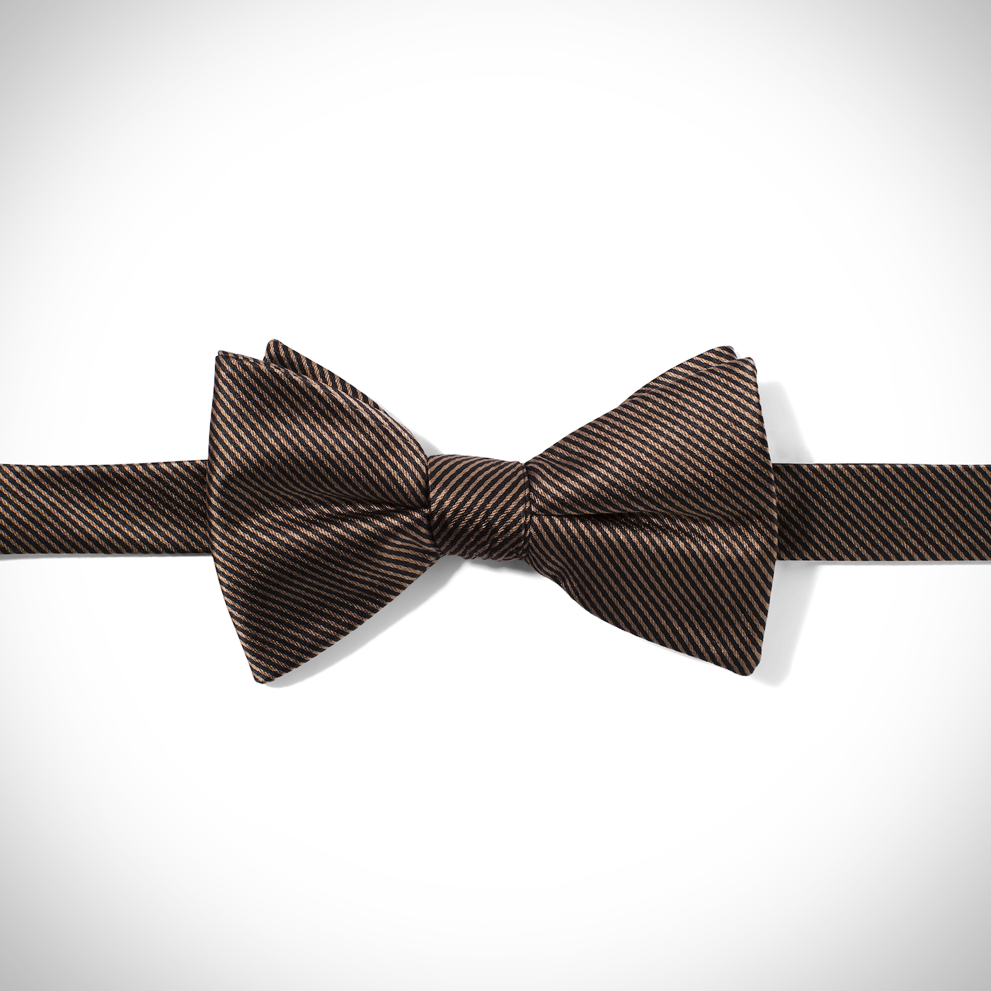 Taupe Thin Stripe Bow Tie