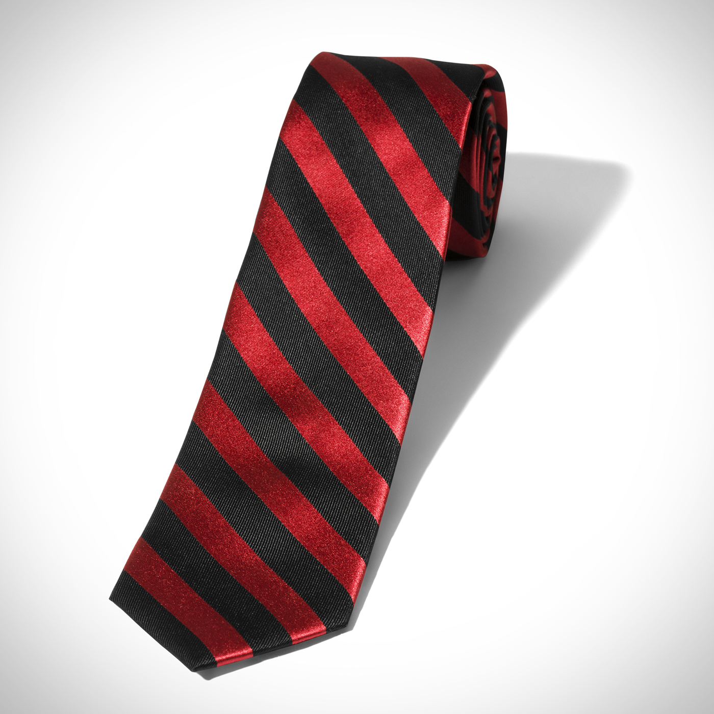 Red and Black Wide Stripe Tie