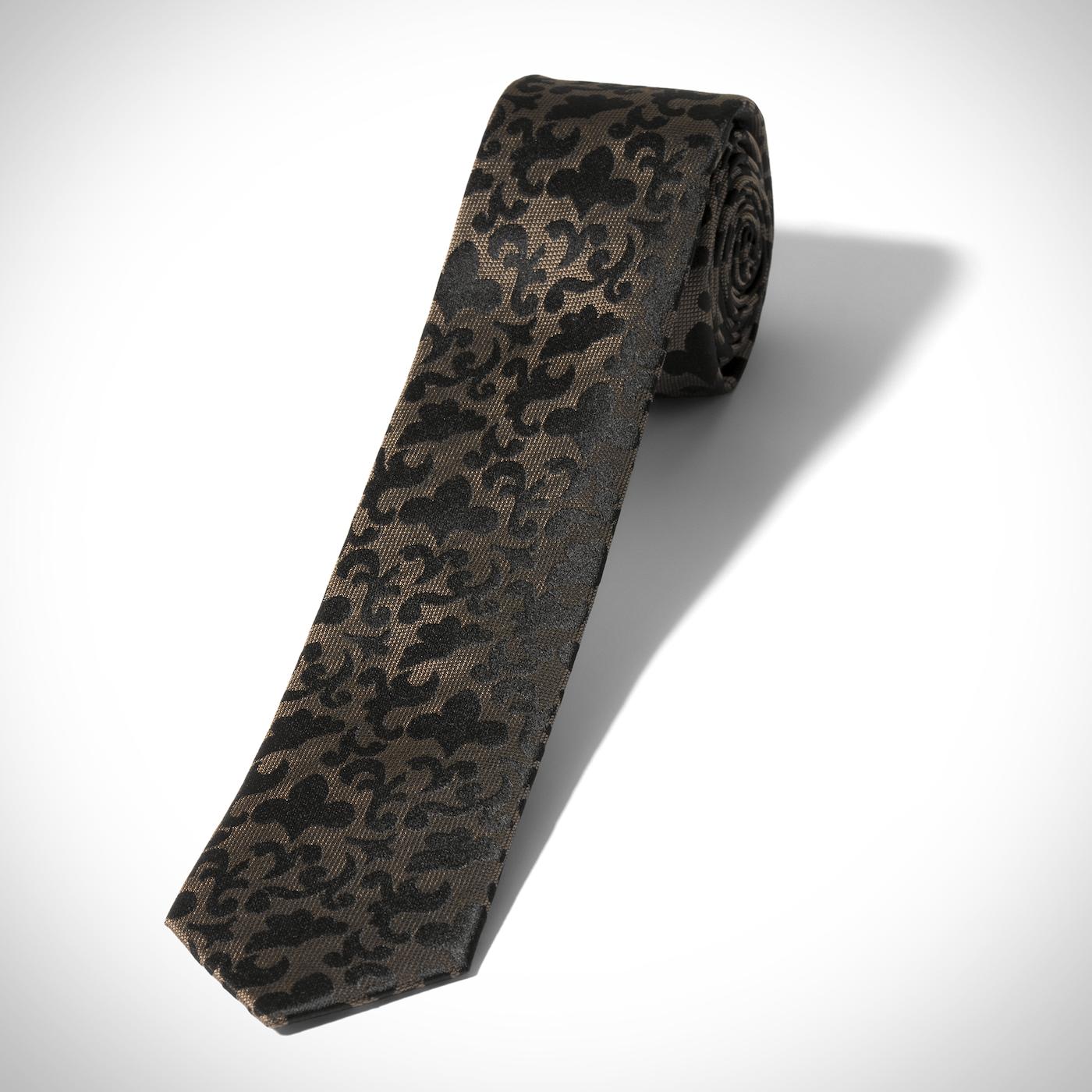 Taupe Vintage Brocade Skinny Tie