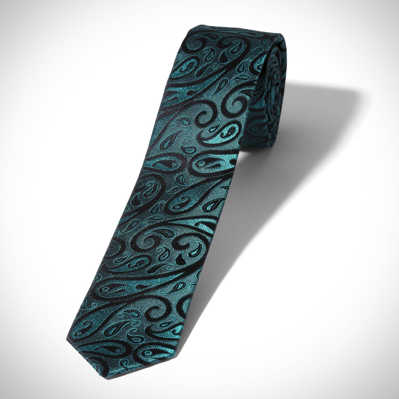 Skinny Emerald Modern Paisley Tie