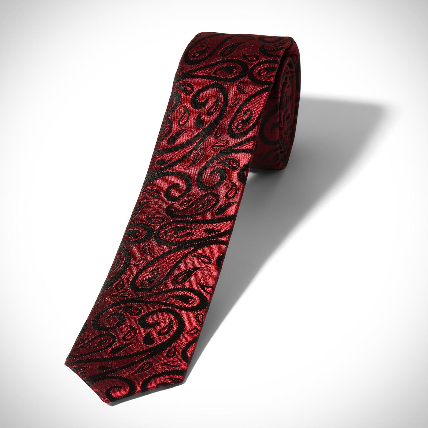 Skinny Wine Paisley Tie